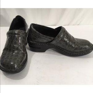 Born Boc Gray Croc Leather print Clogs